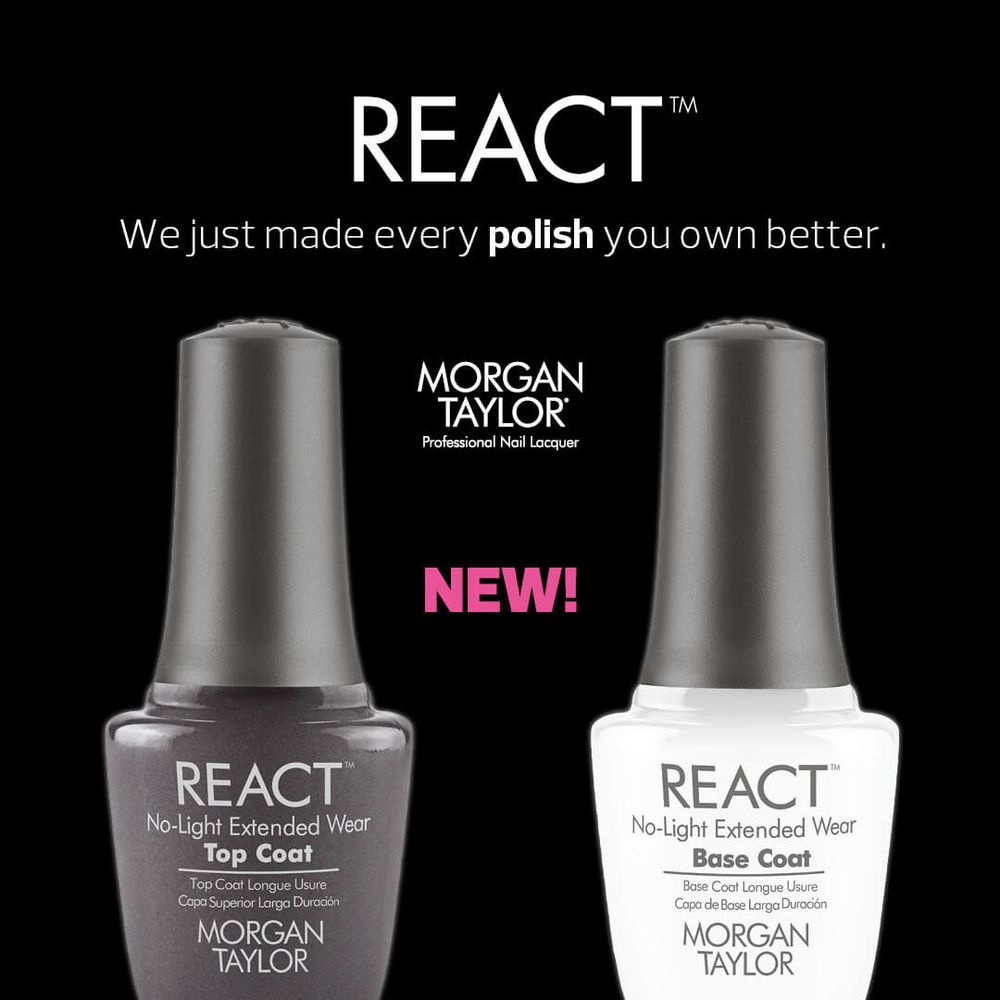 Morgan Taylor React Top Base Coat Nails Manicure Extended Wear